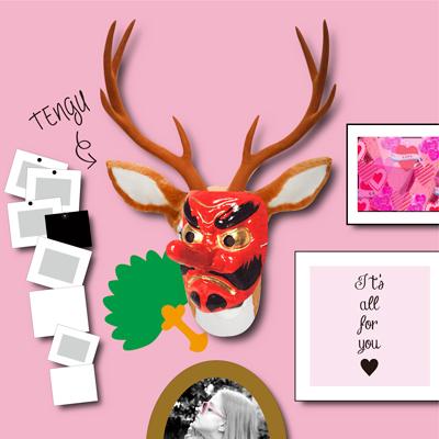 装飾イメージ 天狗のお面をかぶる鹿オブジェ