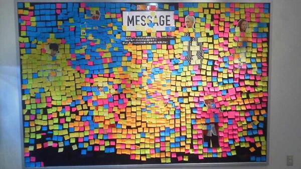 第1弾コラボ時の来場者からメンバーに向けたメッセージボード