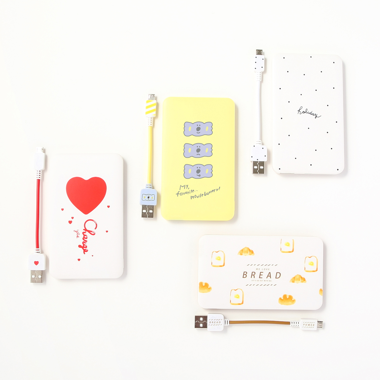 3000mAhモバイルバッテリー(ハート、コアラ、Holiday、パン)各500円