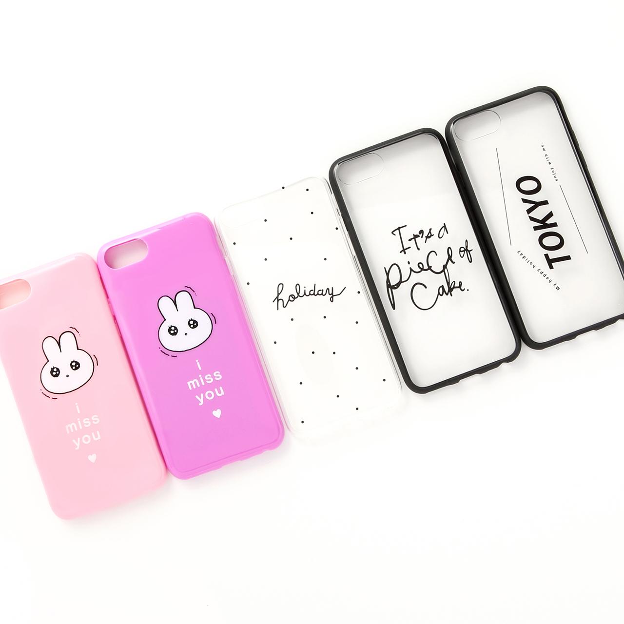 iPhone用ケース(6/6S/7/8)ウサギ、Holiday各100円ピースオブケイク、TOKYO 各150円