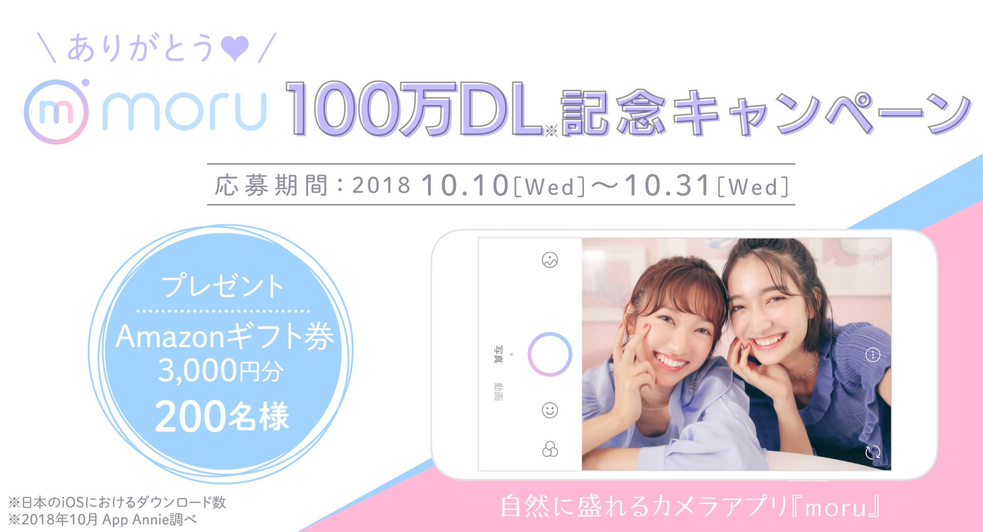 『moru』100万DL記念キャンペーン
